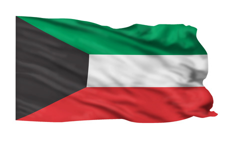 Kuwait flag flying high in the wind  Stock Photo - 23991043