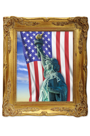 Statue of liberty in a golden picture frame Stock Photo - 23991045