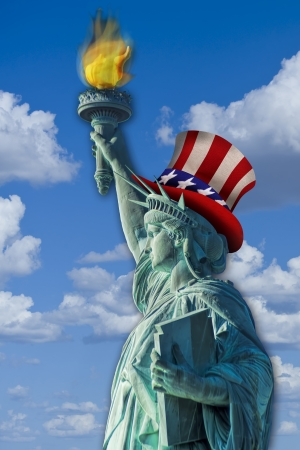 Statue of liberty with Uncle Sam hat on  Stock Photo - 23991046