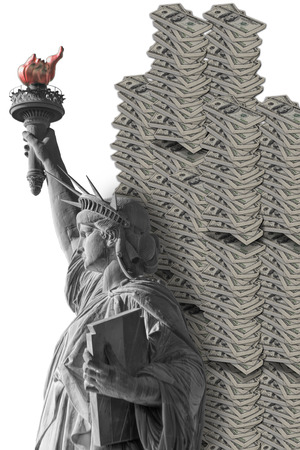 Lady Liberty and American green cash stacked high Stock Photo - 23991047