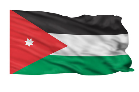 Flag of Jordan flying high in the sky.