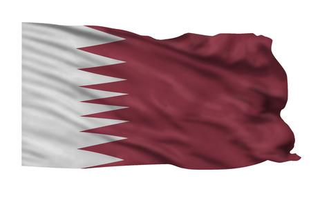 高空を飛んでいるカタールの旗。