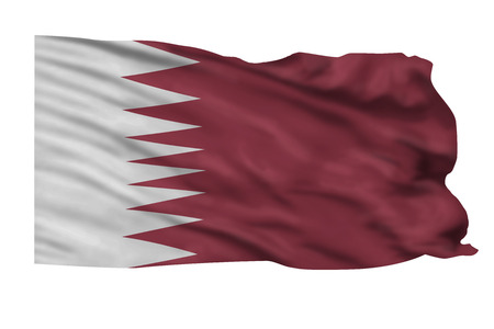 Flag of Qatar flying high in the sky.