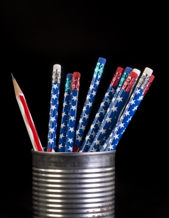 Red white and blue flag pencils in a tin can. Stock Photo - 23991080