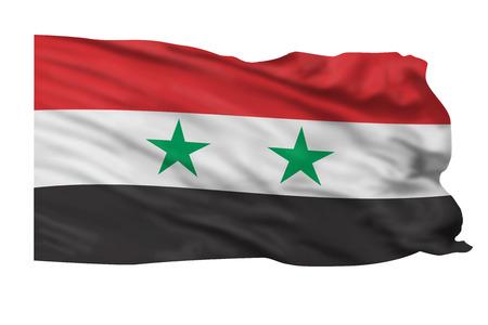 Vlag van Syrië vliegen hoog in de lucht.
