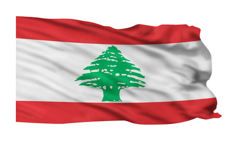Lebanon flag waving in the wind  版權商用圖片