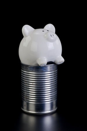 bad times: Piggy bank in the tin can