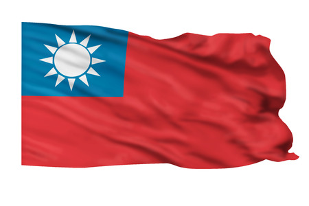 Taiwan flag blowing in the wind. Stock Photo - 24691376