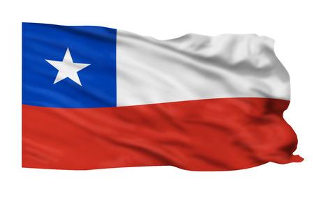 bandera chilena: Bandera de Chile vuela alto en el cielo.