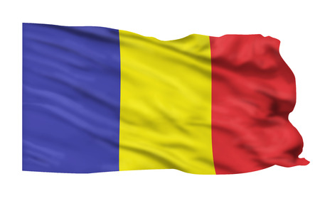 Flag of Romania flying high in the sky. Stock Photo - 24822356
