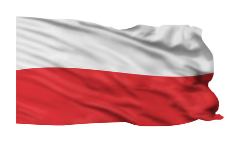 Flag of Poland flying high in wind.