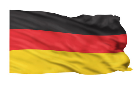 Flag of Germany flying high in the sky. Stock Photo