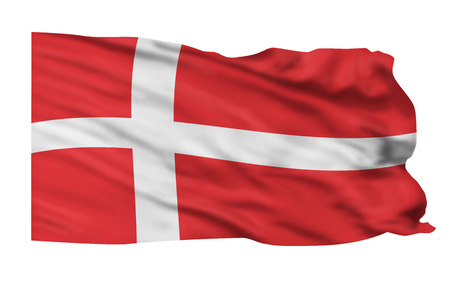Flag of Denmark flying high in the sky. Banco de Imagens