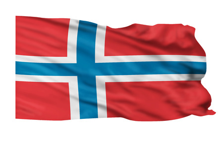 높은 하늘에 비행하는 노르웨이의 국기.