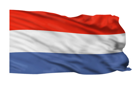 the netherlands: Flag of the Netherlands flying high in the sky.
