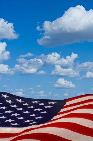 American flag with blue sky. Stock Photo - 25309499