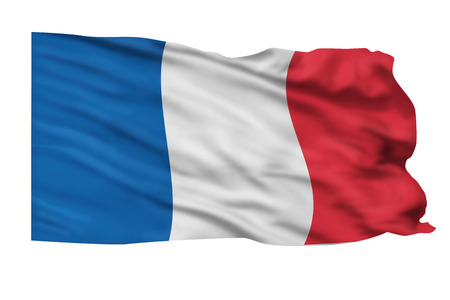 Flag of France flying high in the sky. Stock Photo - 25313093
