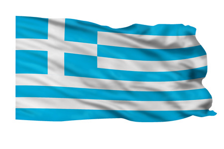 Flag of Greece flying high in the sky. Stock Photo - 25313428