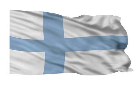 Flag of Finland flying high in the sky.