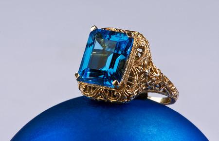Deep blue topaz antique gold ring.