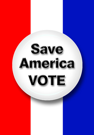 voting booth: Save America vote button.