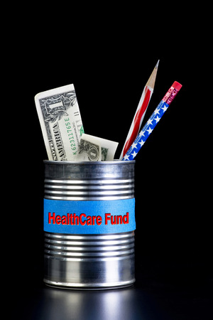 health care funding:  American health care fund in a tin can.