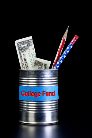 College fund tin can with cash. photo