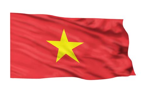 Vietnam flag waving in the high wind.