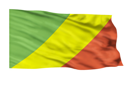 Flag of the Congo flying high in the sky.