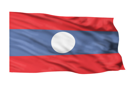 Laos flag flying high in the sky.