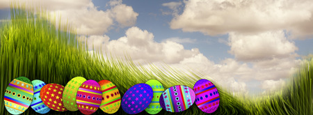 Easter eggs in green grass. Stock Photo