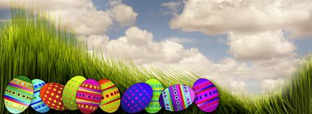 ornamente: Easter eggs in green grass. Stock Photo
