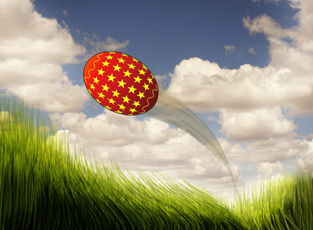 ornamente: Easter egg flying fast and high.