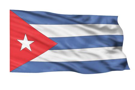 bandera cuba: Bandera de Cuba volando alto en el cielo. Foto de archivo