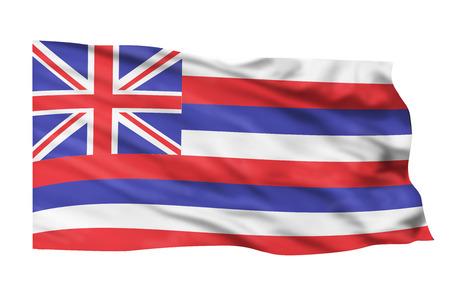 hawaii flag: Hawaii flag flying high in the sky. Stock Photo
