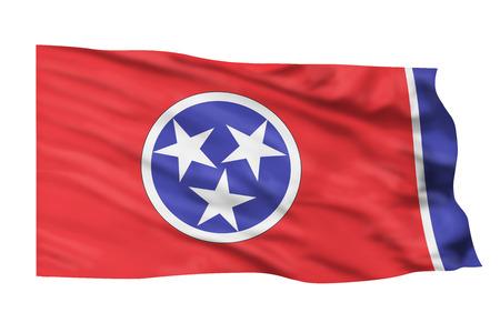 tennesse: Bandera de Tennessee volando alto en el cielo.