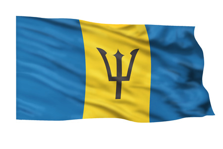 Barbados flag flying high in the sky.