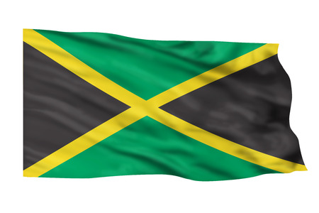 Jamaica flag waving high in the sky.