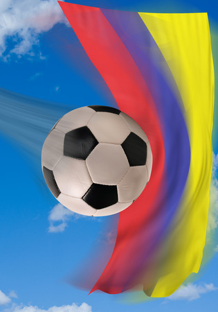 colombian: Soccer ball flying fast with Colombian flag