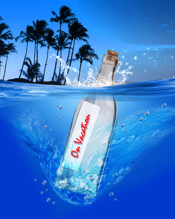 On vacation message in a bottle. photo