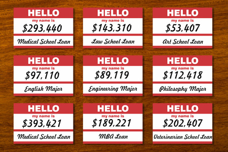 education loan: Student loan debt listed on table with name tags.