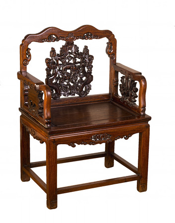 vintage furniture: Antique Hung-Mu Chinese chair made in the early 1800s.