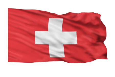 Flag of Switzerland flying high in the sky. Stok Fotoğraf
