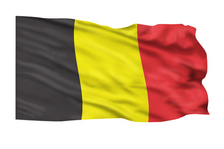 Flag of Belgium flying high in the sky. Banco de Imagens