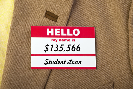 collegiate: Student loan name badge on jacket.
