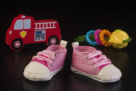 Pretty little babies  pink shoes.