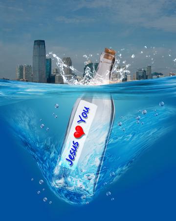 Jesus love you in a bottle. photo