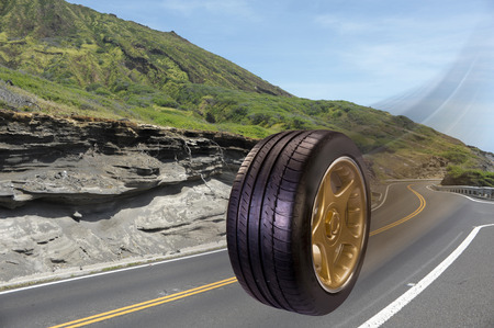 radial tire: This tire rolls down the road.