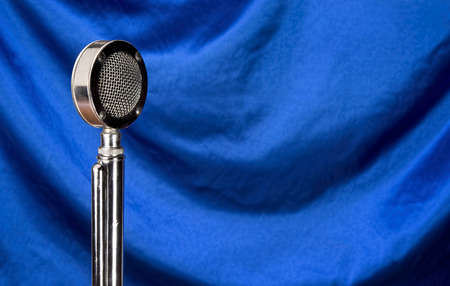podcasting: Old microphone with room for your type. Stock Photo