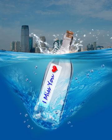 i miss you: I miss you message in a bottle.